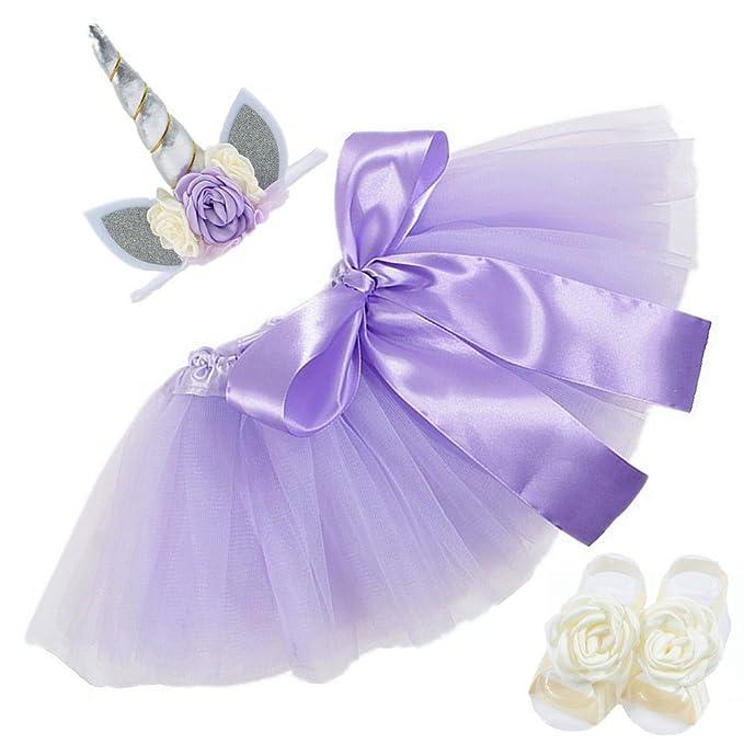 Nuosai Newborn Unicorn Headband Dress Sandals Shoes Set Gifts Party Supplies Lavender
