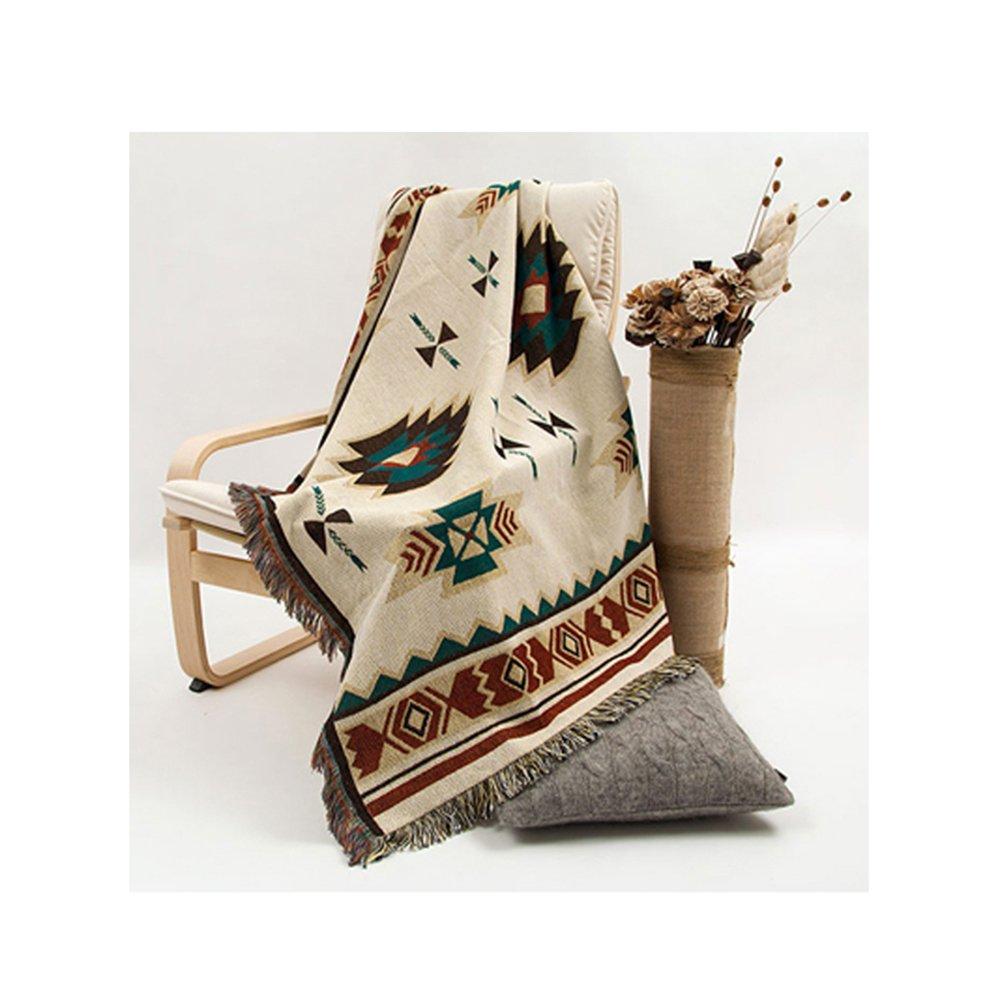 90x 210cm tappeto di tessuto azteco divano desgin geometrico tribale etnico tappeto coperta copriletto American cotone indiano Bohemien Peel Forest