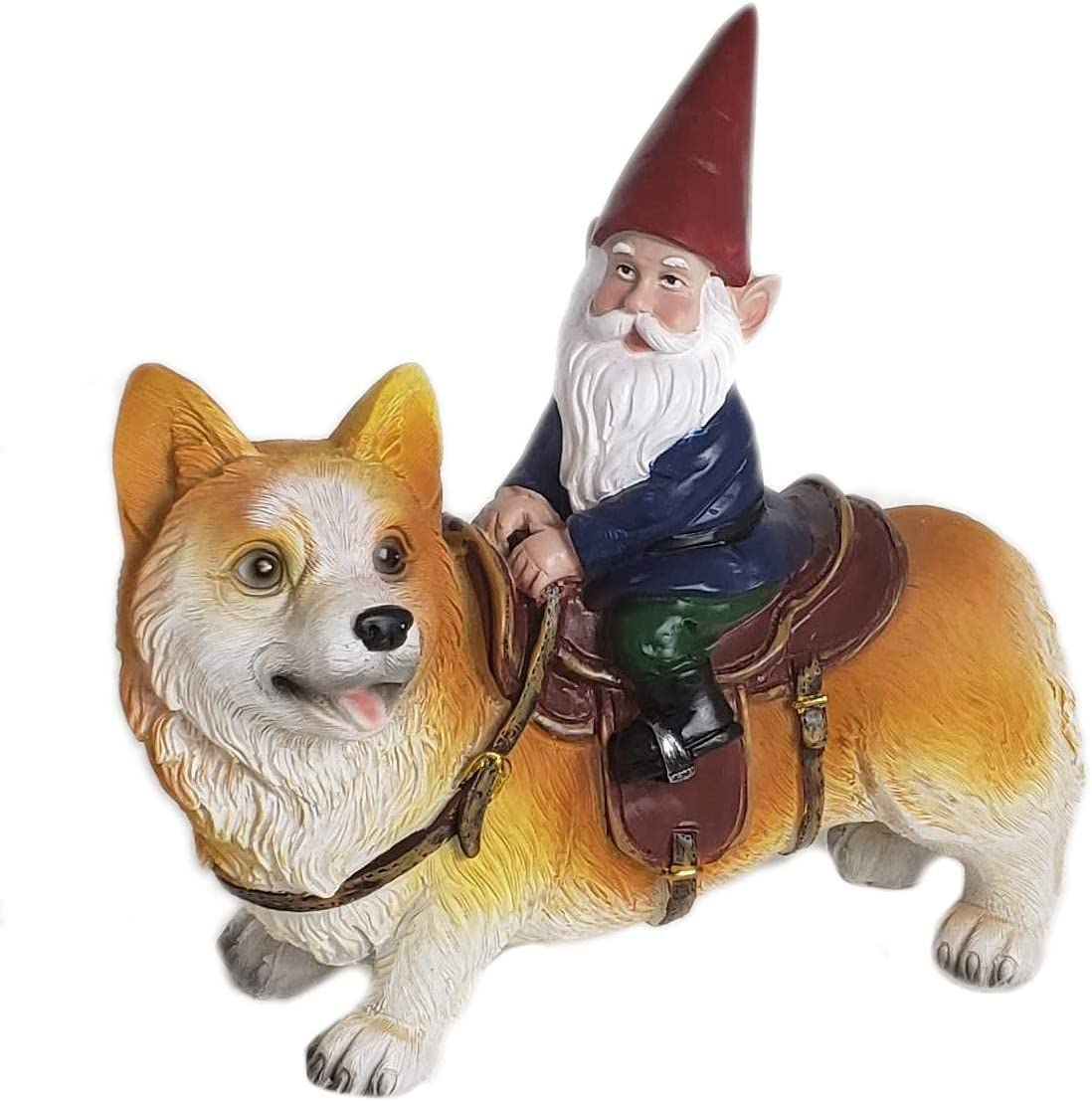 Funny Guy Mugs Garden Gnome Statue - Gnome Riding a Corgi - Indoor/Outdoor Garden Gnome Sculpture for Patio, Yard or Lawn