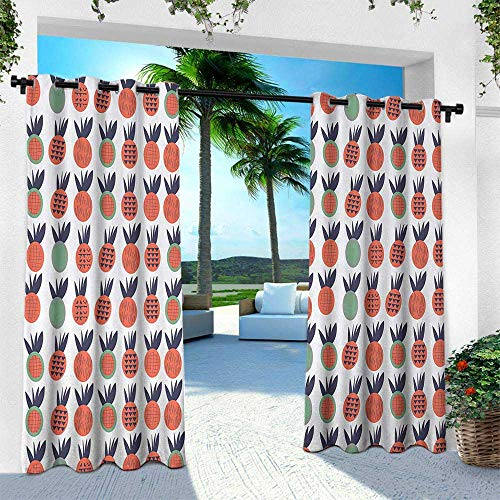 Hengshu Abstract, Outdoor Patio Curtains Waterproof with Grommets,Pineapples with Triangles Lines and Checkered Squares Fruit Design, W84 x L108 Inch, Green Dark Coral Dark Blue