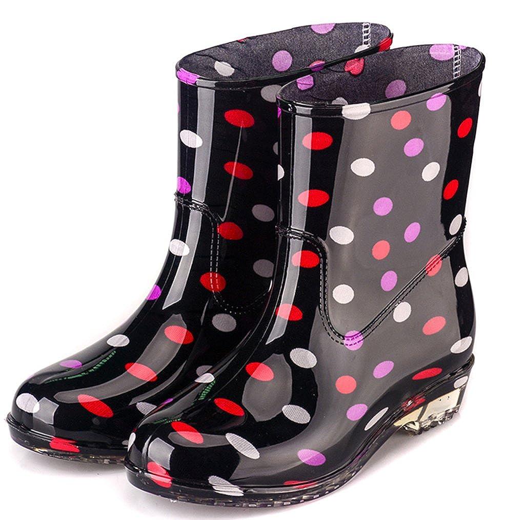 Frauen Wasserdichte Regenstiefel Gummi Festival Regen Schlamm Schnee Damenmode Wellington Gummistiefel Rutschfeste Hohe Schuhe Größen EU39 D