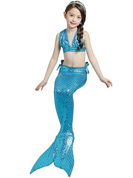 Chicas Cosplay Halter cuello traje sirena concha baño 3pcs ...