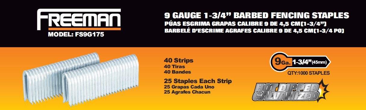 Freeman FS9G175 Pneumatic Barbed Fencing Staples 9 Gauge by Freeman B01BD8GQVE