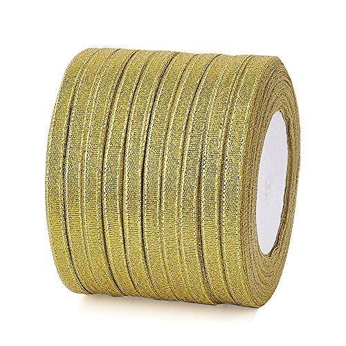 Fashewelry 10 Rolls Double Sided Glitter Metallic Sparkle Organza Ribbon 1/4(6mm) Sparkly Golden Fabric Ribbon for Bows Gift Crafting Wedding Party Birthday Wrap Decoration Total 250 Yards