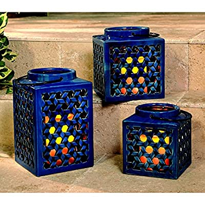 Member's Mark 3-Piece Stoneware Lantern Set With Flameless Candles Blue