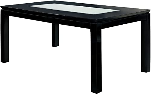 Furniture of America Helena Rectangular Dining Table with Mirror Top, High Gloss Lacquer, Black