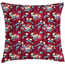 Lunarable Japanese Throw Pillow Cushion Cover, Far East Asian Floral Arrangement Morning Glory Pattern with a Oriental Background, Decorative Square Accent Pillow Case, 16 X 16 Inches, Multicolor