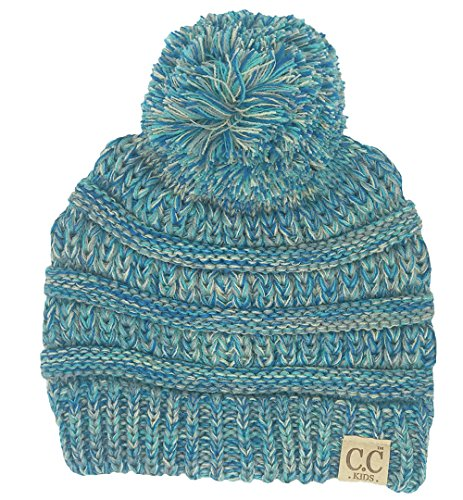 H-6847-816.11 Girls Winter Hat Warm Knit Slouchy Kids Pom Beanie - Blue #15