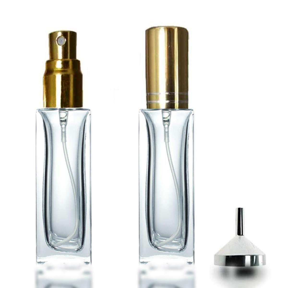 bbc305e916a5 Details about Glass Perfume Atomiser 2 x 20ml Square refillable Bottles  with a Small Metal...