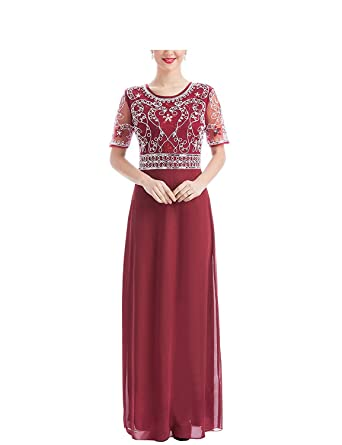 Shang Womens Long Bridesmaid Gowns Beaded Embroidered Sequin Formal Prom Dresses Burgundy US 2