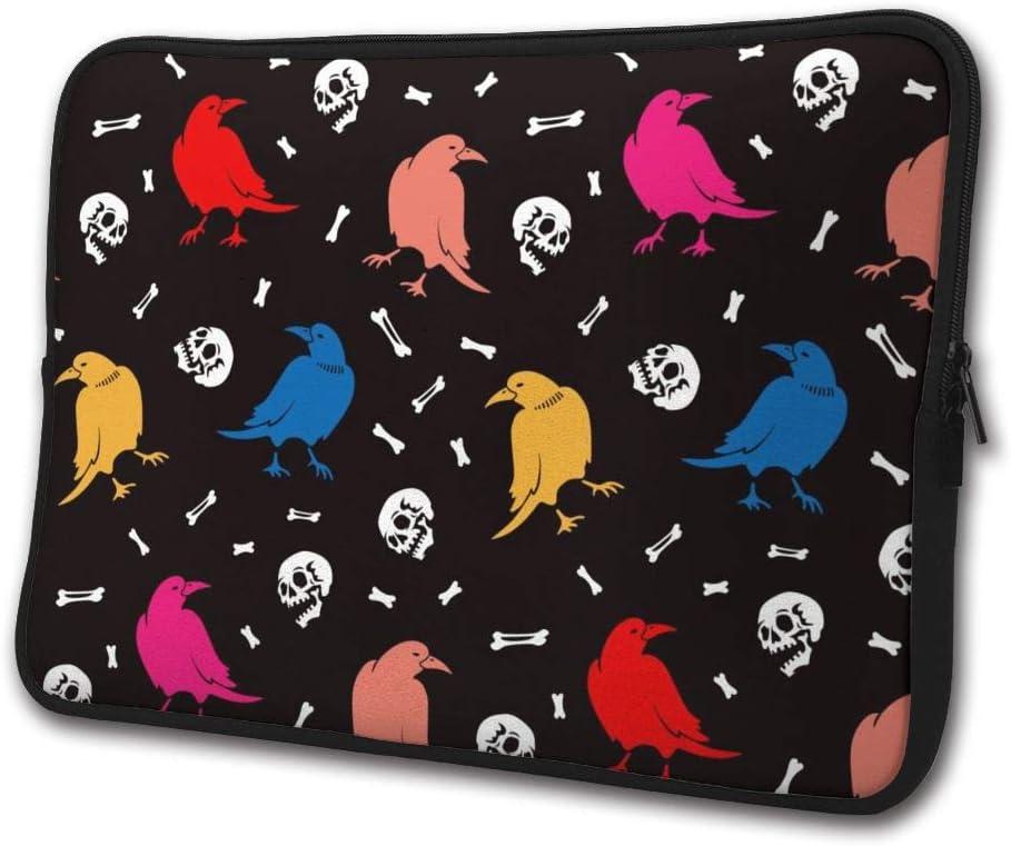 SWEET-YZ Laptop Sleeve Case Halloween Crows Skulls Raven Bones Notebook Computer Cover Bag Compatible 13-15 Inch Laptop
