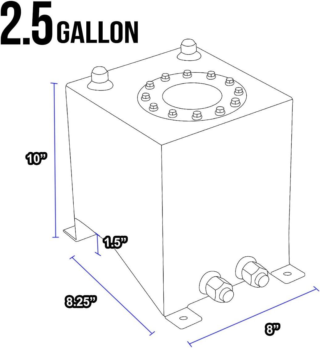 DNAMotoring ALU-FT-T1-ALU-BK Aluminum 2.5-Gallon Fuel Cell Gas Tank
