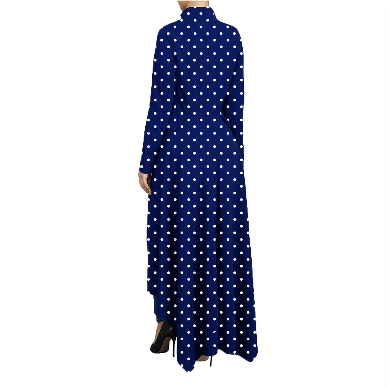 MLZHAN Womens Polka Dot High Low Tops Irregular Zipper Front Long Sleeve Tunic Shirt