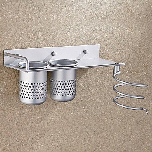 Anself Aluminum Wall Mount Hair Dryer Drier Flat Holder Stand Rack Storage Organizer Bathroom Multi-use with 2 Cups W4396-HMMFBA