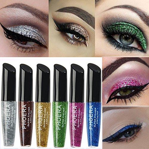 MEIQING Shimmer Glitter Eyeshadow Sequins Liquid Bling Eyeliner Highlighter Power Make Up Set (Six color)
