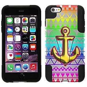Trek Hybrid Stand Case for Apple iPhone 6 - Anchor on Aztec Rainbow White