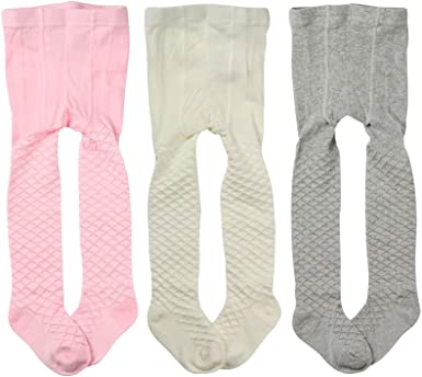 Toptim Baby Girls Seamless Socks 3 Pack Cable-Knit Tights for Toddlers Child