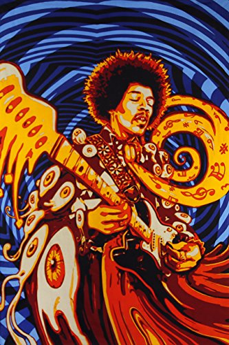 Sunshine Joy 3D Jimi Hendrix Tapestry Wall Art Festival Sheet Huge 60x90 Inches - Amazing 3D Effects