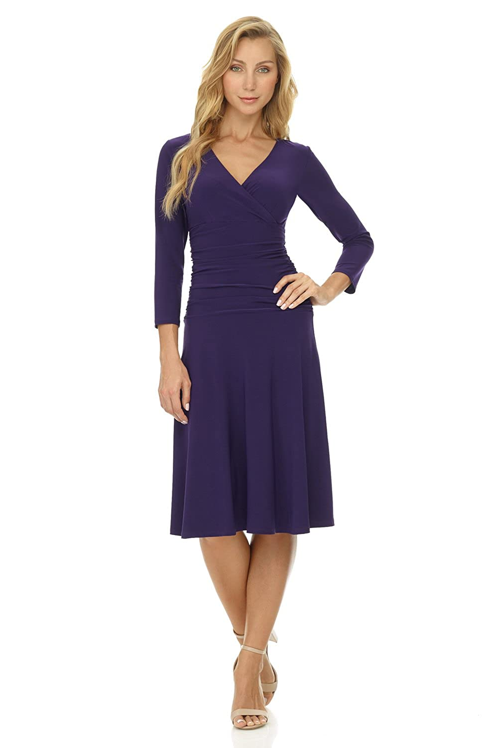 a66d37ef70 Rekucci Women s Slimming 3 4 Sleeve Fit-and-Flare Crossover Tummy Control  Dress at Amazon Women s Clothing store