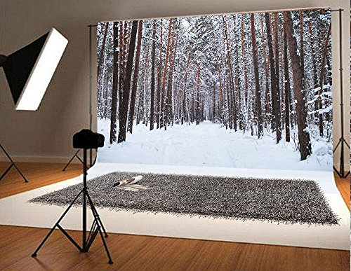 7x5ft White Snowing Accumulated Snow-Covered Tree Photography Backdrop Christmas Photo Background HDR0808