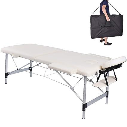 Lettino Da Massaggio Portatile Alluminio.Pawstory 2 Zone Legno Alluminio Lettini Da Massaggio Pieghevole