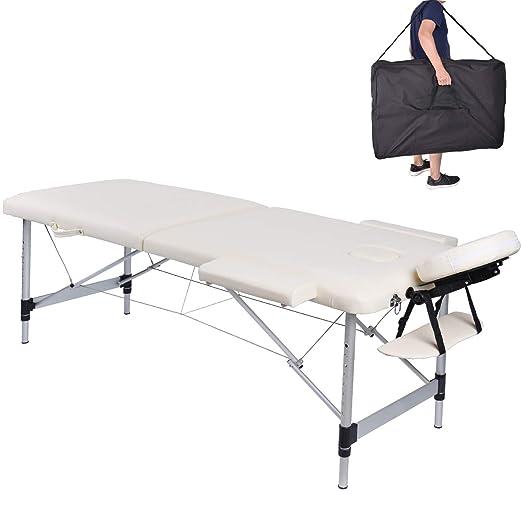 Pawstory Massageliege 2 Zonen Aluminium Klappbar Tragbar Massagetisch Faltbar Leicht Deluxe Massage Bett Höhenverstellbar Spa