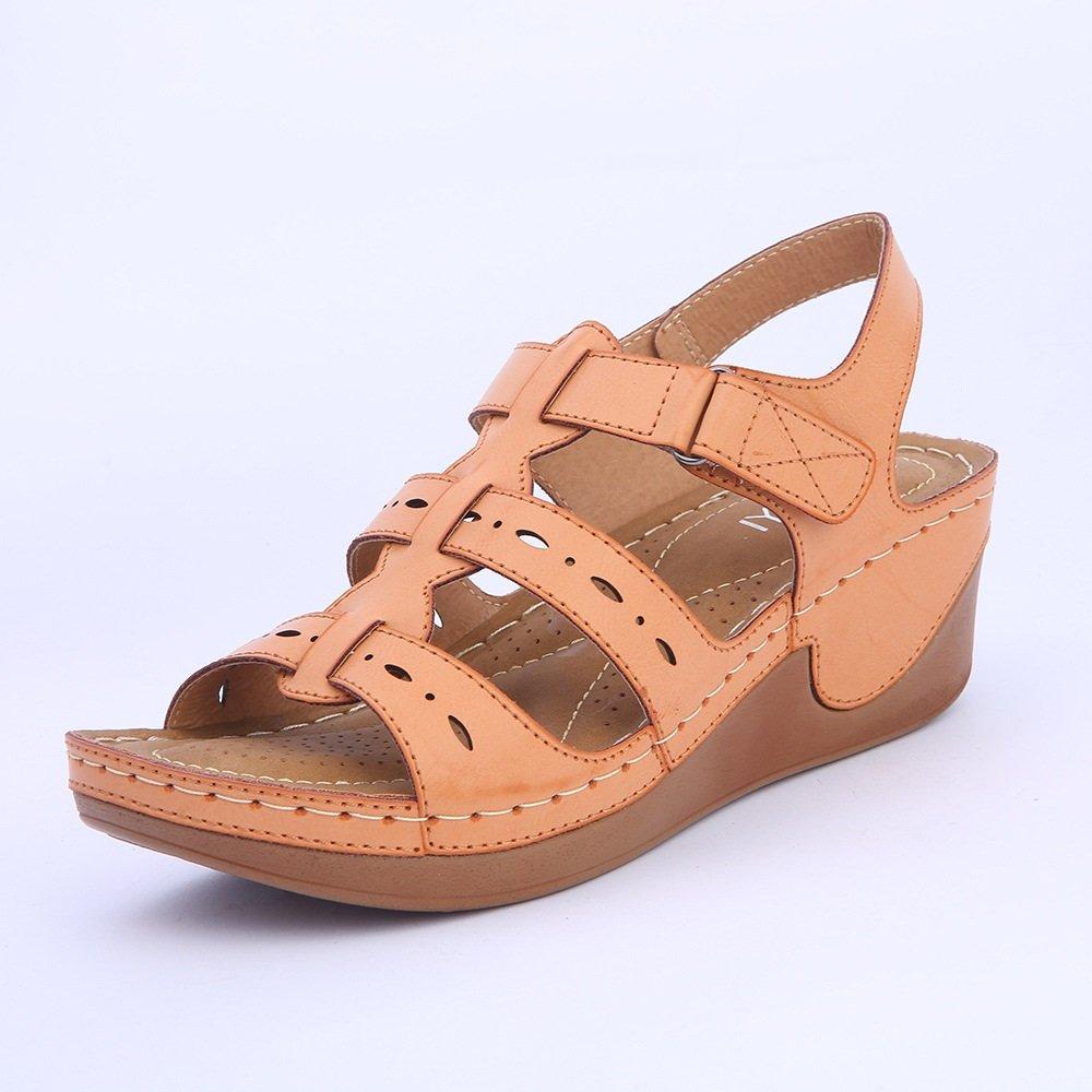 Exing Damenschuhe PU-Sommer-Keilabsatz-Wasserdichte Plattform-Schuhe beiläufige Bequeme Flausch-Feine Leichte Gurt-Flache Unterseite Leichte Flausch-Feine Damen-Schuhe Ein 509bc6
