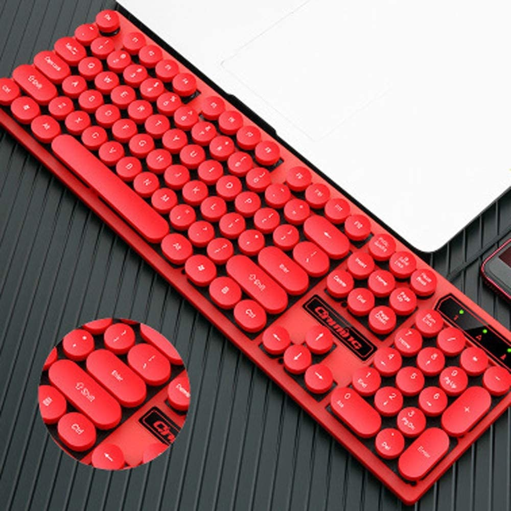 Color : Colorful HBBOOI Round Button Mute Wired Gaming Keyboard USB Interface 104 Keys 12 Multimedia Shortcut Keys Keyboard Waterproof for PC Laptop and More
