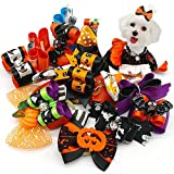 20pcs/10pairs Dog Hair Bows Halloween Designs Dog Topknot...