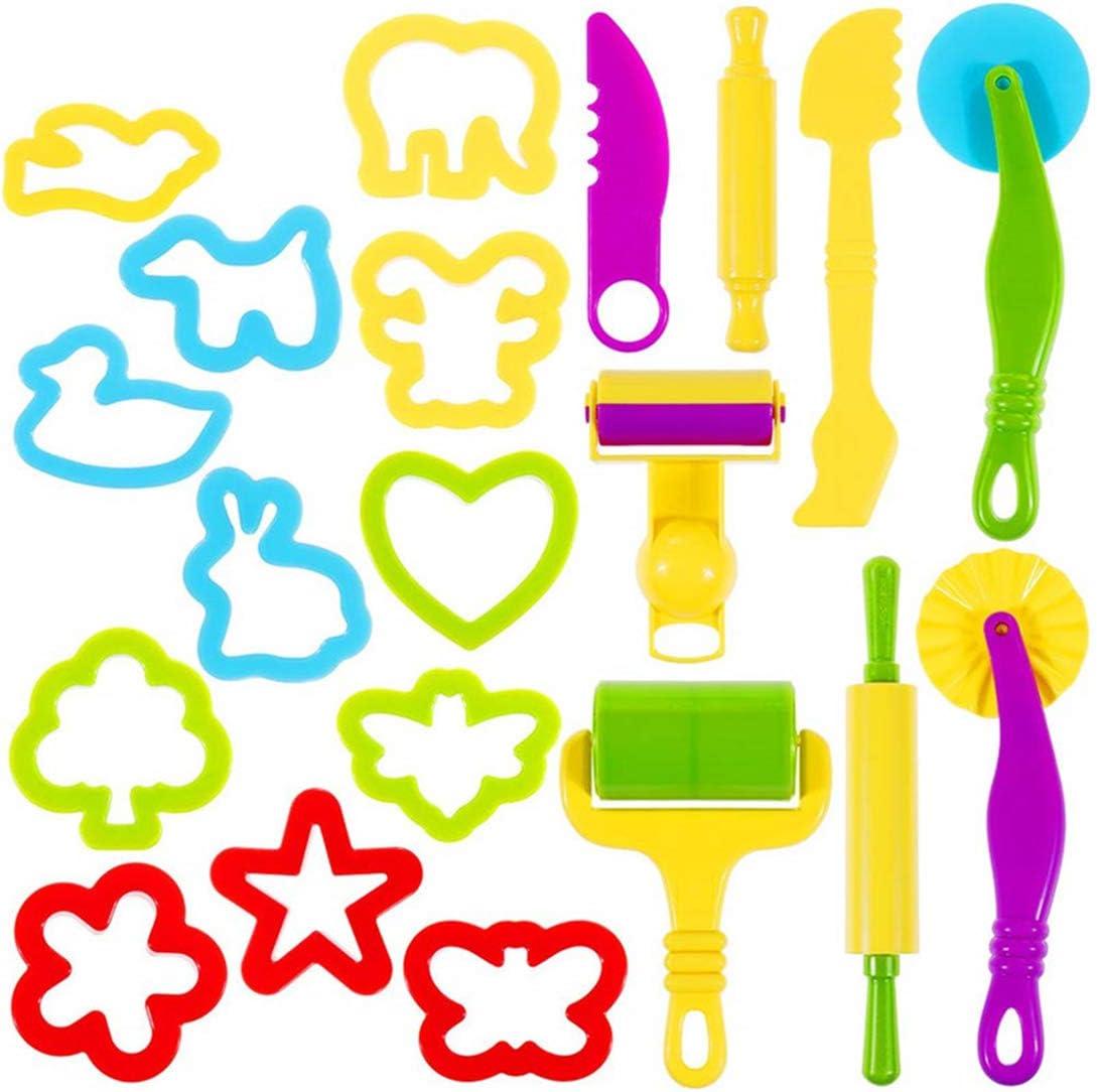 Oun Nana Playdough Tools 20 PCS Play Dough Tools Set for Kids, Various Shape Playdough Cutters & Rollers, Random Color