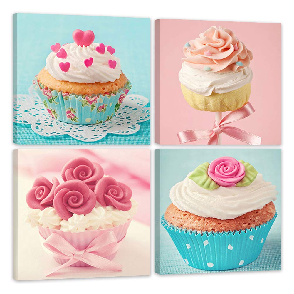Shuaxin Modern Home Decor Kitchen Wall Art Delicious Cup Cake Paintings on Canvas Home Decor Wall Decals 12*12 X4pcs Framed with Box by ShuaXin