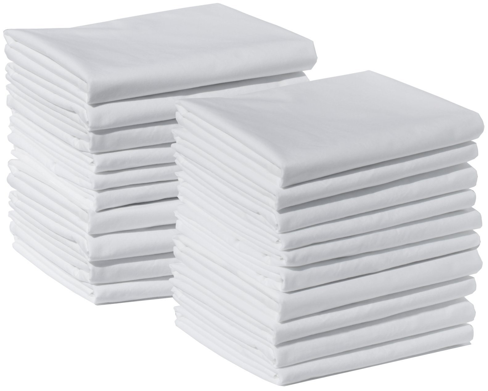 20 King Size 100% Cotton White T220 Percale Wholesale Bulk Discount Pillowcases Shams for Tie-Dying, Silk Screening, Hotels, Crafts, Camps, Parties, Physical Therapy