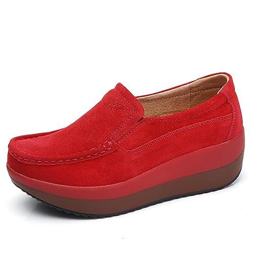 HKR HKR-GF828 - Mocasines de Ante para Mujer, Color Rojo, Talla 35.5 EU/23.4 cm: Amazon.es: Zapatos y complementos