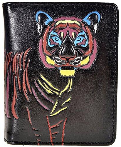 Tigers Tri Fold Leather - Shag Wear Women's Animal Design Small Zipper Wallet Colorful Tiger Black