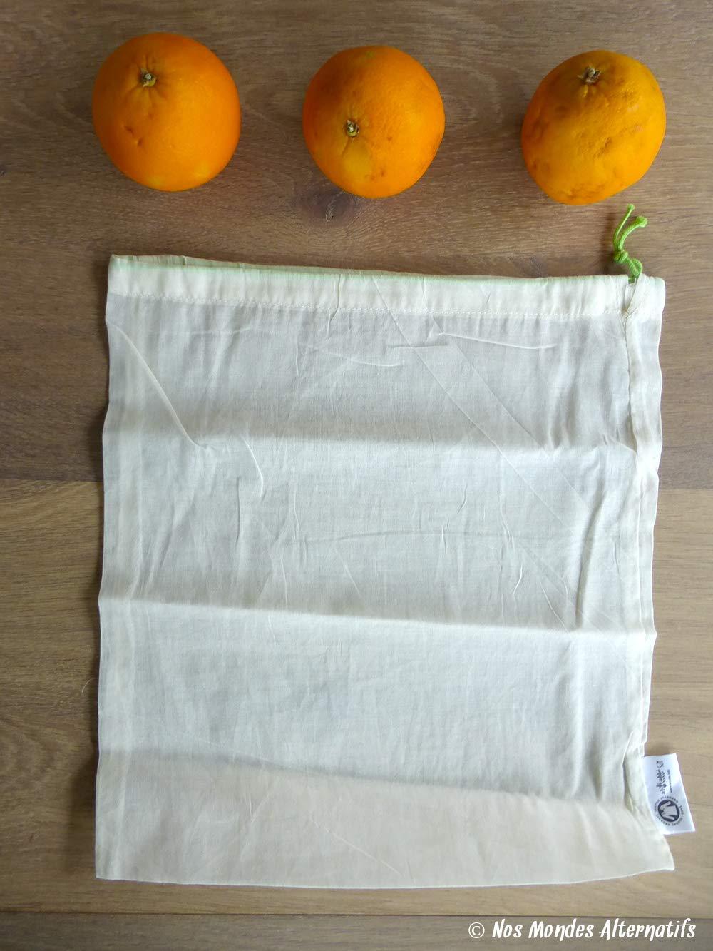 5 sacs r/éutilisables C/ér/éales ultra l/égers lavables en machine 52 Listes de Courses Saisonni/ères avec Infos Pratiques 5 sacs /à vrac en coton bio Fruits et L/égumes