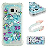Galaxy S7 Edge Case, Linvei Sparkly Glitter Liquid Shiny Bling Floating Quicksands TPU Silicone Back Case for Samsung Galaxy S7 Edge (5.5 inch) - Rainbow Unicorn