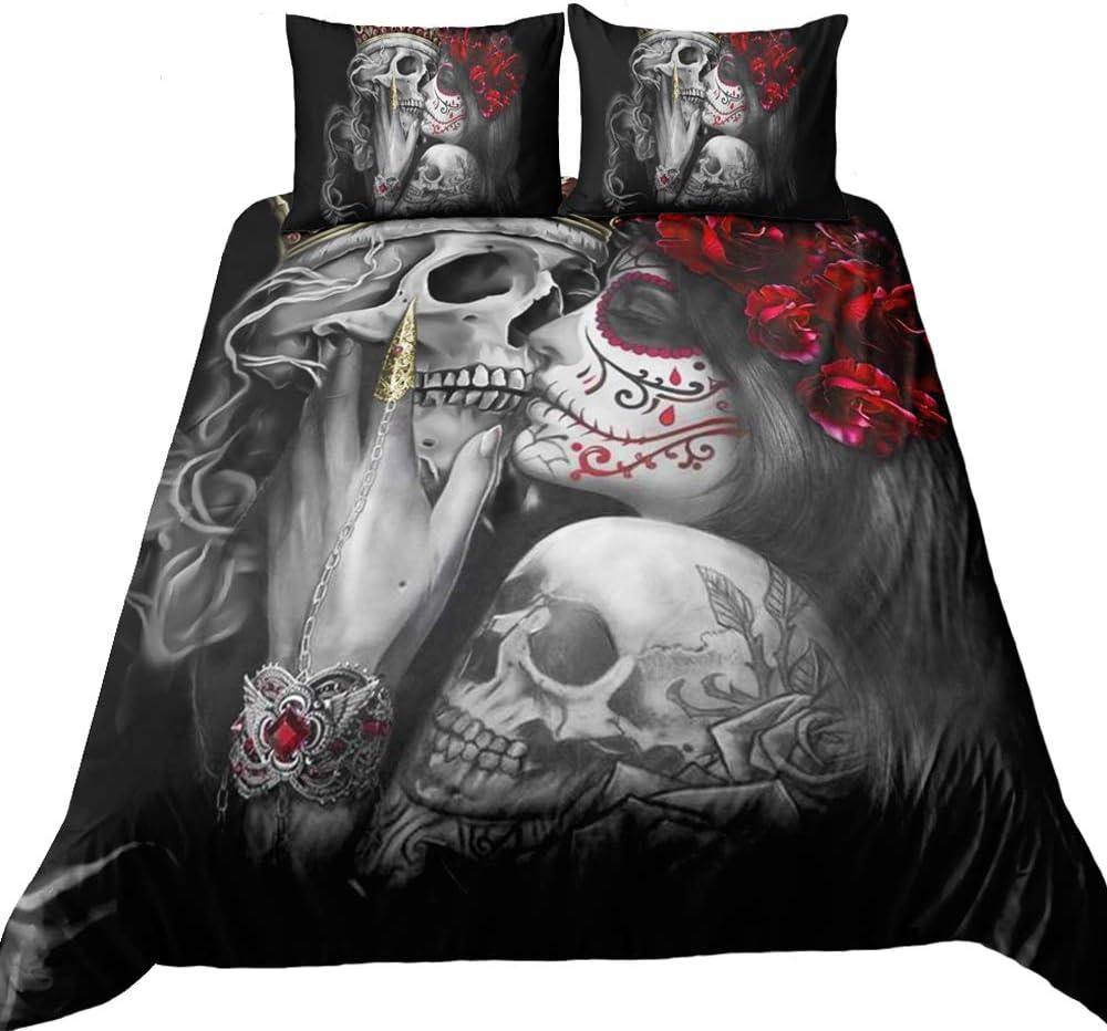 Suncloris, Bedding Duvet Cover Sets, 3D Dead Sugar Skull Girl Kissing Skull Home Bedding Set.Included: Duvet Cover,Pillowcase(no Comforter Inside) (Queen)
