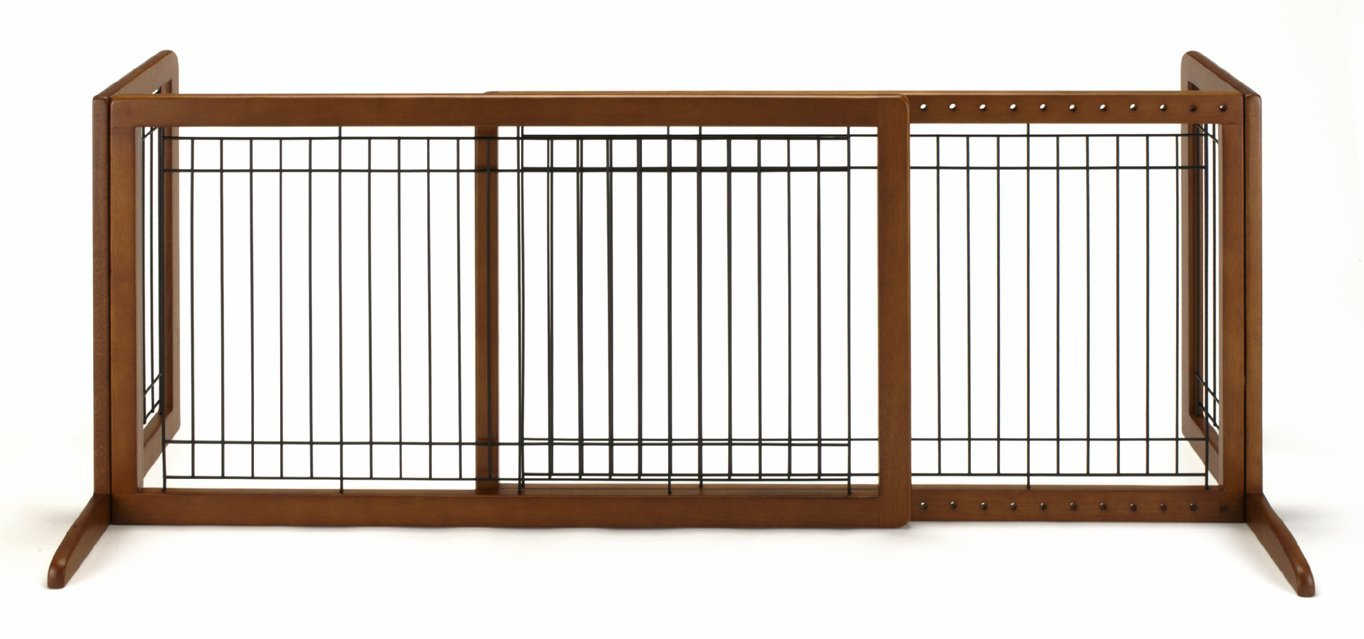 Richell Wood Freestanding Pet Gate, Large, Autumn Matte Finish by Richell