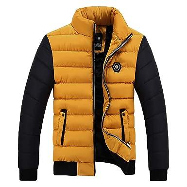 MEIbax Plumífero para Hombre Chaqueta con Capucha de Pluma algodón Largo Abrigo de colisión de Color de Invierno Engrosamiento cálido Acolchado ...
