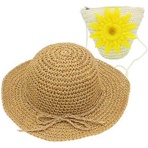 YOPINDO Hat Purse Set Straw Sun Hat Foldable Beach Cap with Bag for 2-7 Years Girl (White)