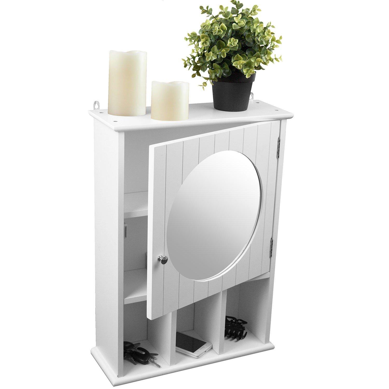 Armadietto a specchio pensile Mobile da parete per bagno e corridoio, 56x 40x 15cm, Legno, Bianco Multistore 2002