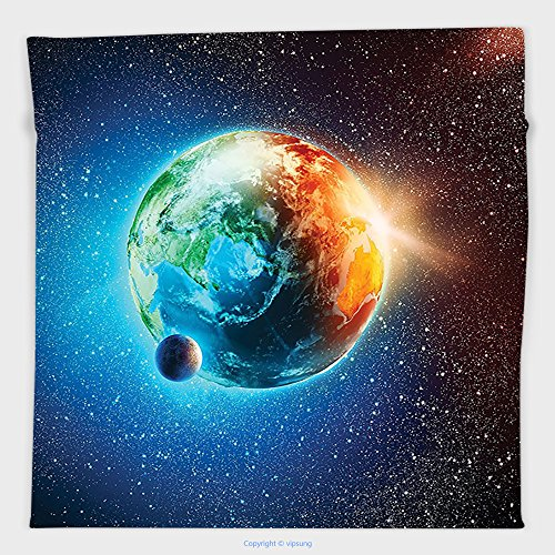 Vipsung Microfiber Ultra Soft Hand Towel-Outer Space Decor Planet Earth In Sun Rays Elements Astronomy Atmosphere Sky Satellite Moon Lunar Image Inch Orange And Blu For Hotel Spa Beach Pool Bath