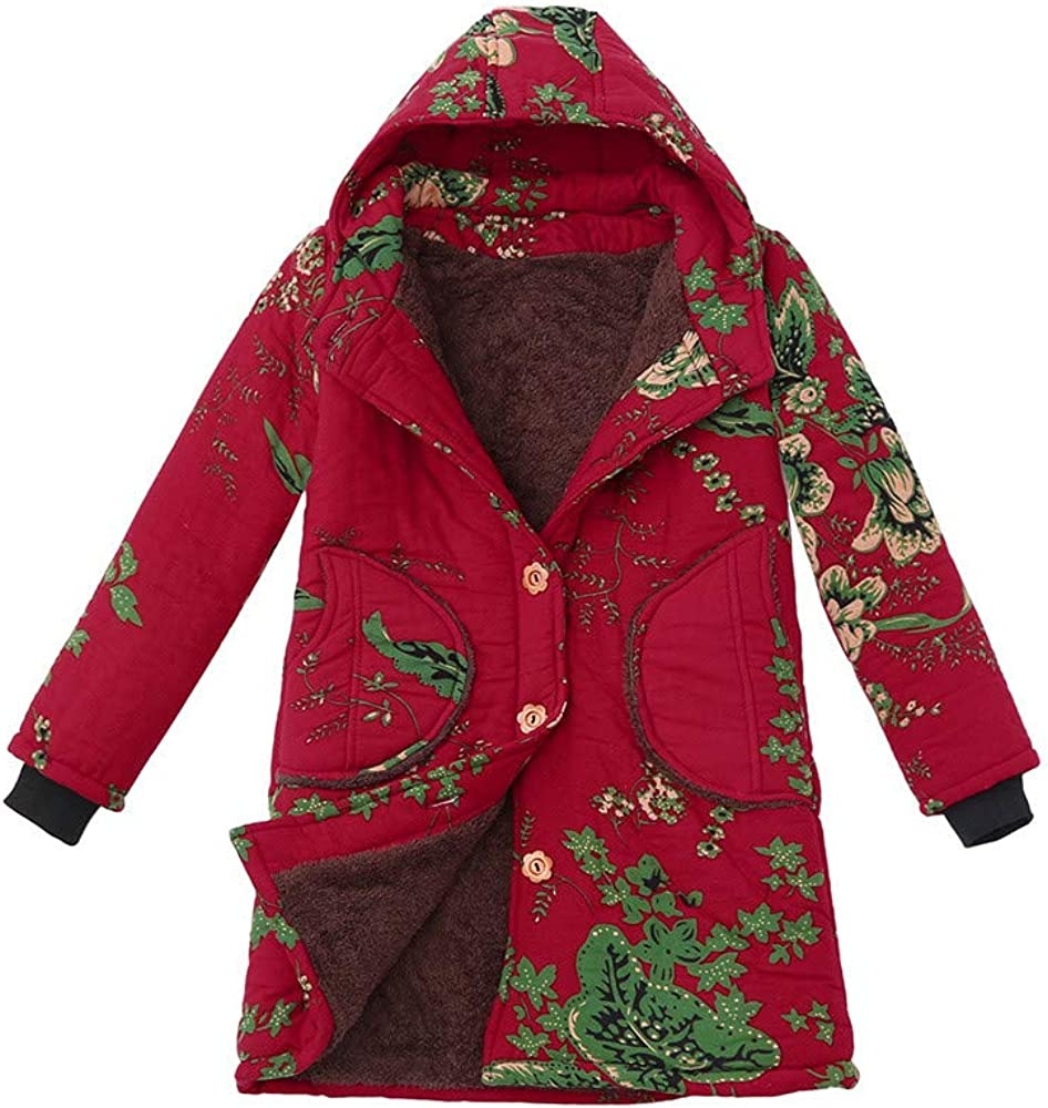 Amiley Womens Vintage Plus Size Hooded Winter Coat Jacket with Pockets Floral Print Button Long Sleeve Thick Coats