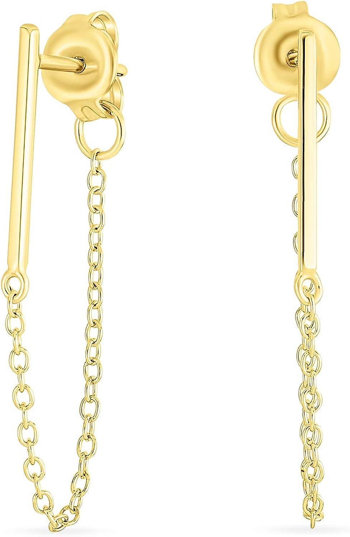 925 Sterling Silver Stud Earrings Minimalist Bar Earrings with Chain Dangle Earrings For Women