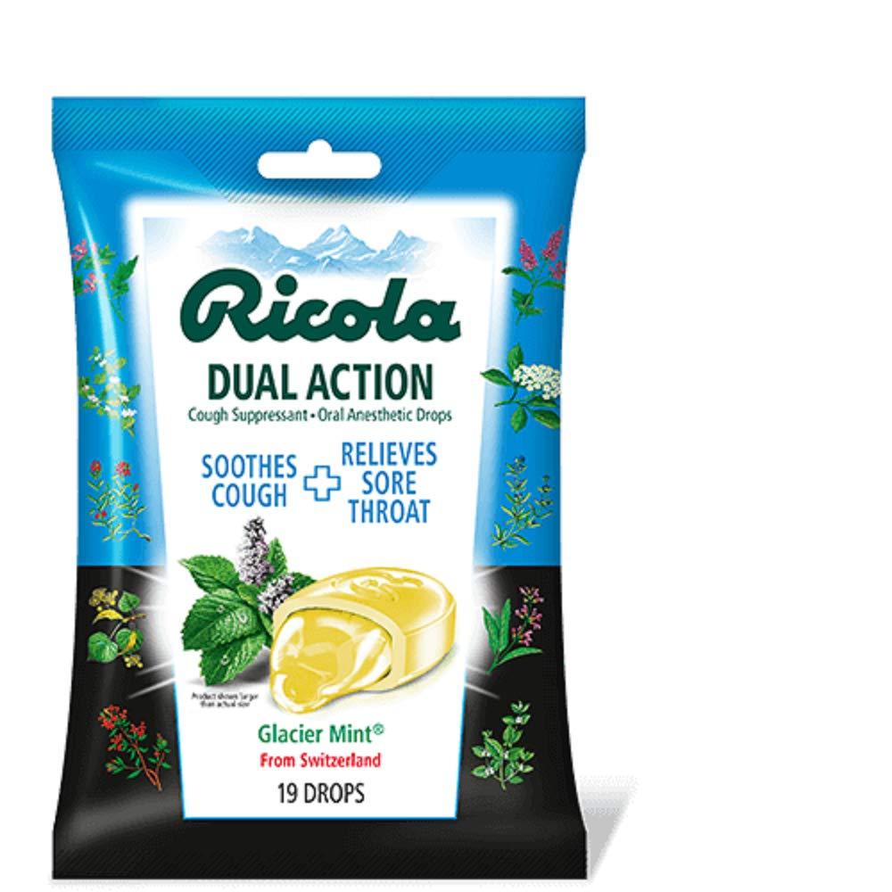 Ricola Dual Action Cough Suppressant Drops, Glacier Mint, 19 Drops Per Pack (2 Packs)