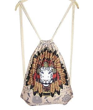 FEOYA Mochila Bolsa de cuerdas Deporte Tipo Saco con Cordones para Hombre Mujer León: Amazon.es: Equipaje