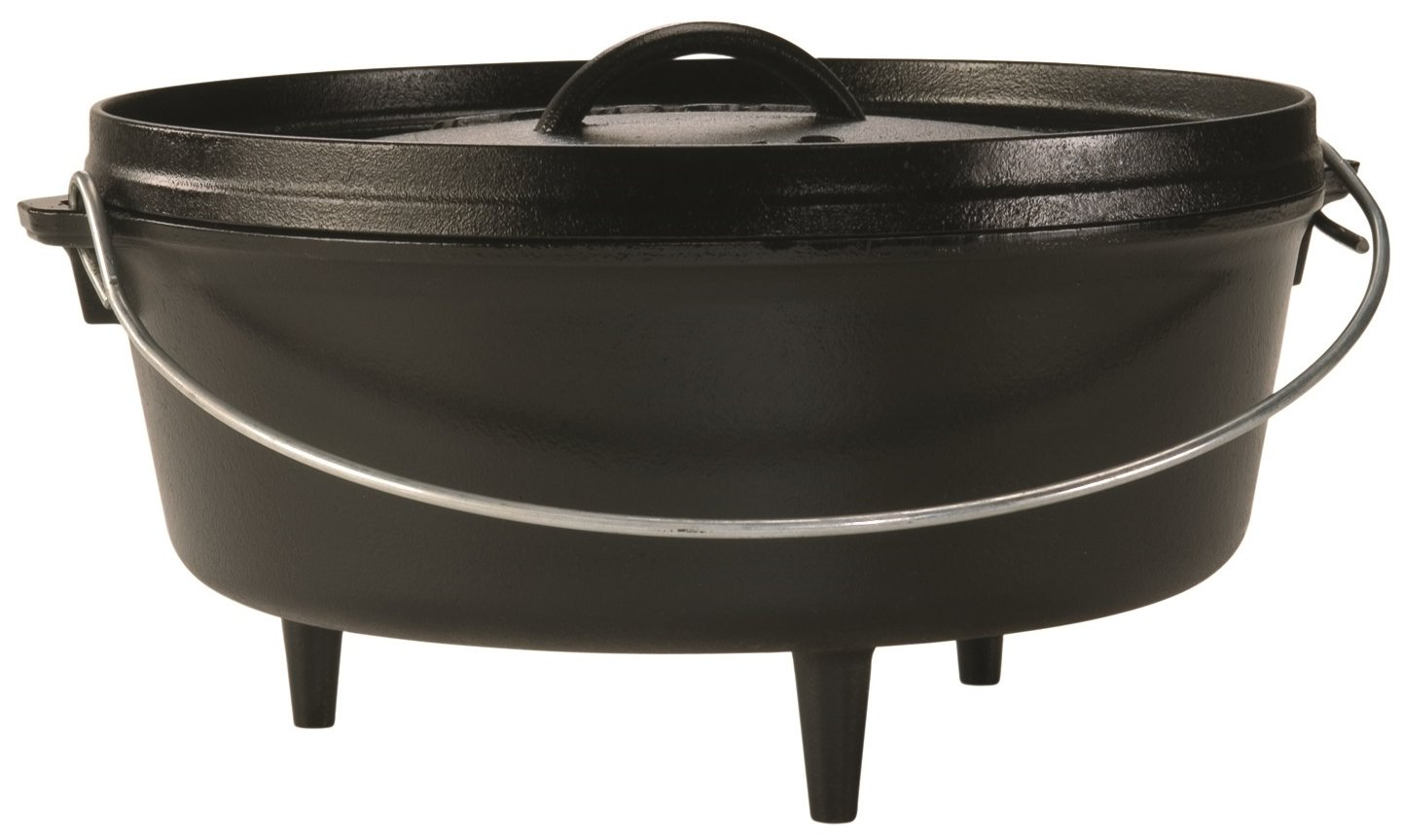 Lodge 6 Quart Camp Dutch Oven. 12 Inch Pre Seasoned Cast Iron Pot and Lid with Handle for Camp Cooking