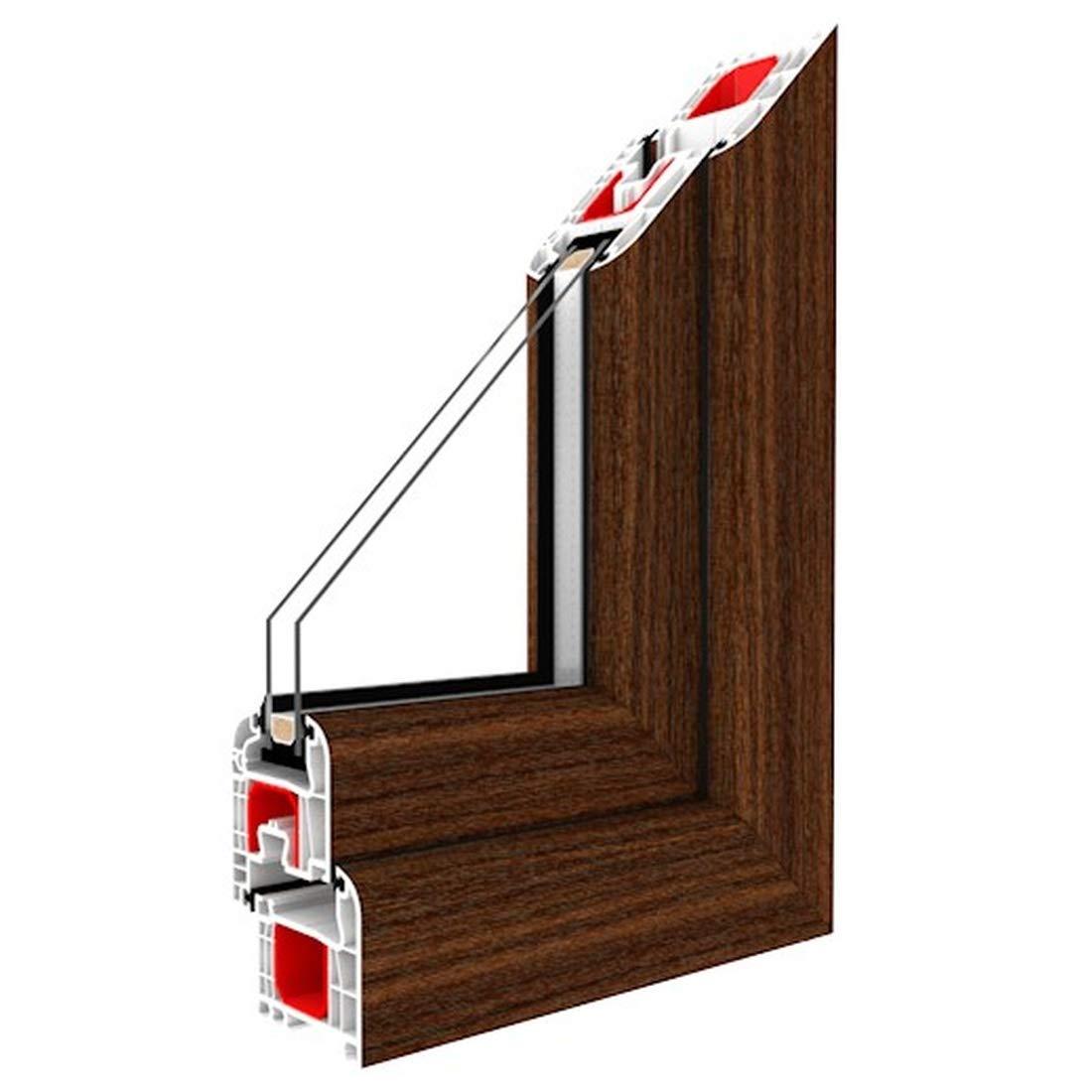 Fest im Rahmen Glas:2-Fach Festverglasung Fenster Mahagoni beidseitig 1 flg BxH:500x500