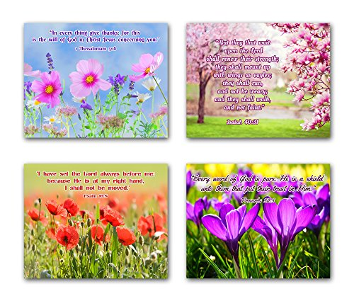 8x10 BIBLE QUOTES Christian Inspirational Wall Decor Posters. Set of 4 Unframed Poster Prints. Made in USA.