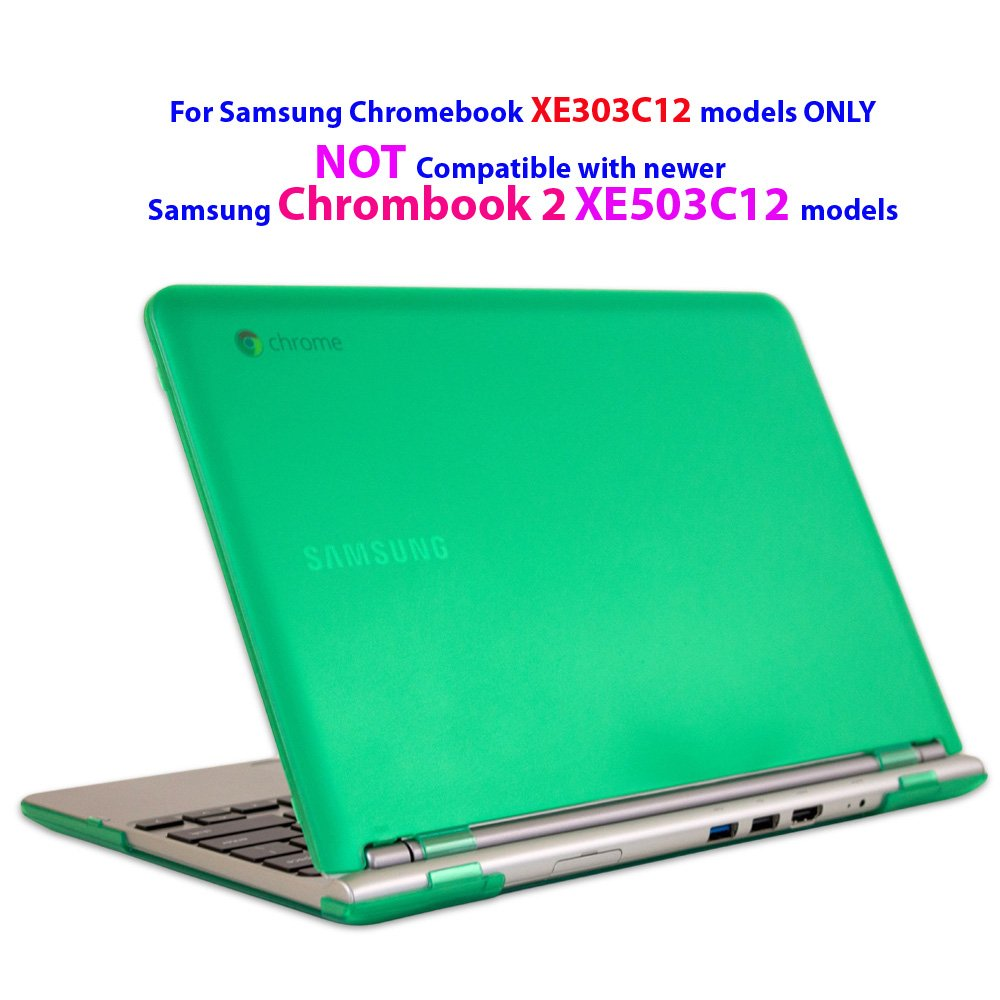 """iPearl mCover Hard Shell Case for 11.6"""" Samsung XE303C12 series Chromebook (Wi-Fi or 3G) laptop (Not Compatible with Samsung Chromebook 2 XE503C12 / XE500C12 and Samsung Chromebook 3 XE500C13 )-GREEN"""
